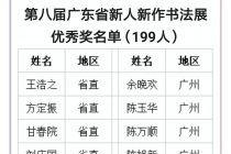 第八届广东省新人新作书法展 优秀奖名单公布